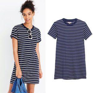 Madewell Tina Blue And White Stripe T-Shirt Dress